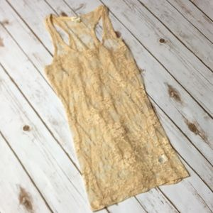 Tan Lace Racerback Tank Top Beige Stretch Shirt